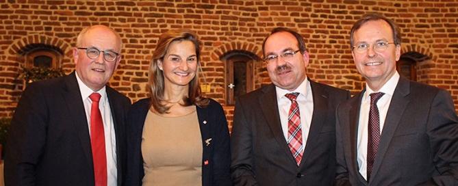 Volker Kauder, Patricia Peill, Ralf Nolten und Thomas Rachel beim Neujahrsempfang der CDU Düren Jülich