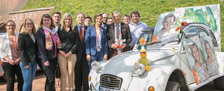Ein Team #mitPeill: Wolfgang Bosbach, Thomas Rachel und Patricia Peill im Brückenkopf-Park Jülich